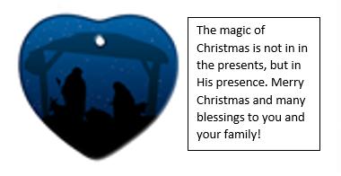 Ornament #1 Nativity heart